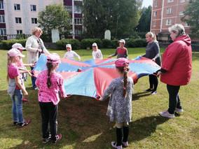 Пособие «Игровой парашют» в работе  с детьми
