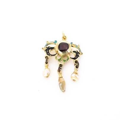 59 Gem& Enamel Pearl Pendant.£550