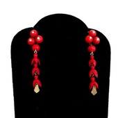 251 Dyed Red Flower Earrings £250