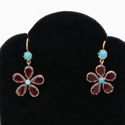 43 Georgian Garnet and Turq Ears £750