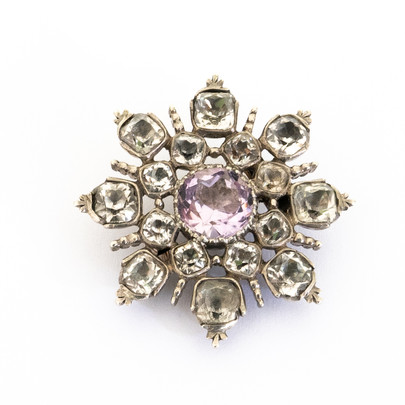 255 White and Purple Paste Brooch