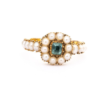 999 Ring Emerald and Pearl £11000