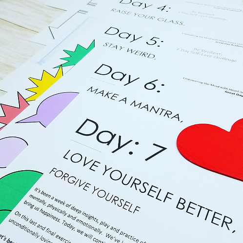 SELF-LOVE CHALLENGE: 7 Days of Colorful Journal Activities  & Exercises