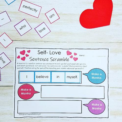 SELF-LOVE SENTENCE SCRAMBLE: Helping Kids Practice Positive Self Talk - AGES 5+