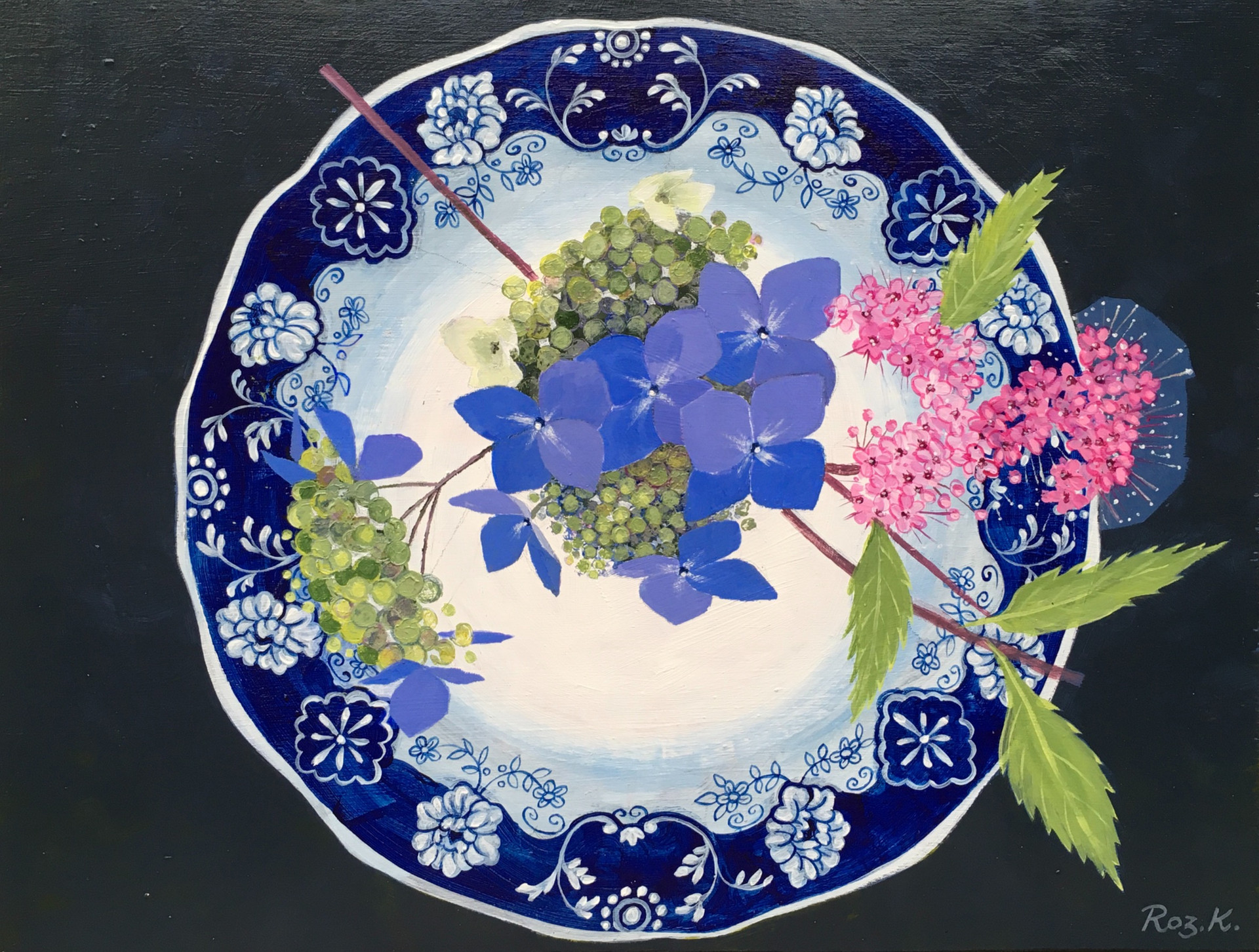 Hydrangea On Plate