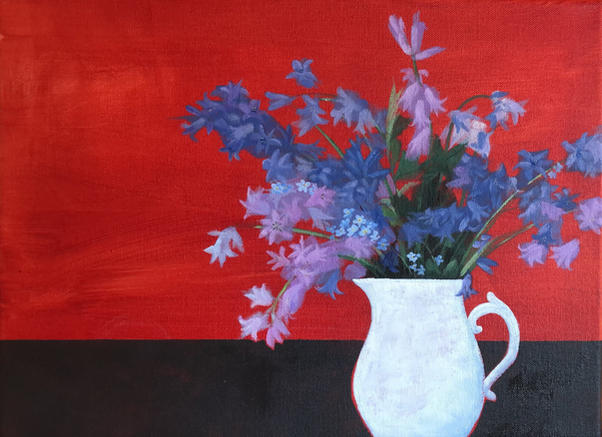 Bluebells on Red