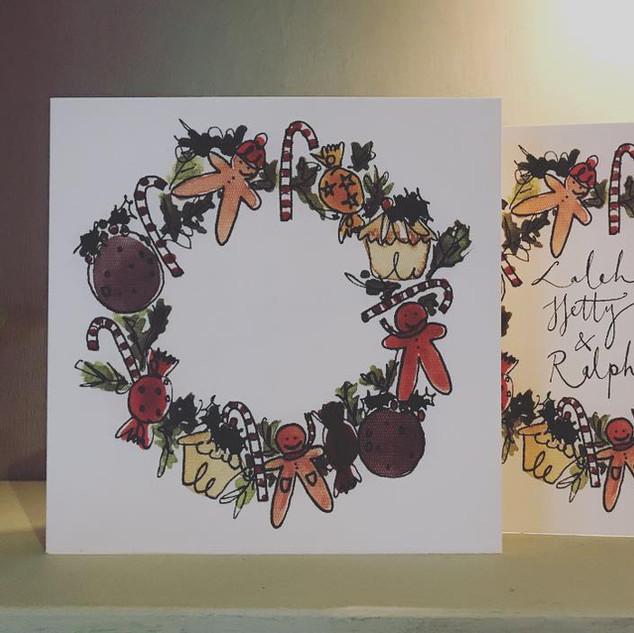 Gingerbread man wreath card