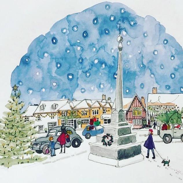 posy christmas market square scene