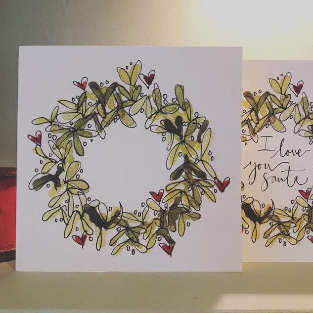 Mistletoe weath card