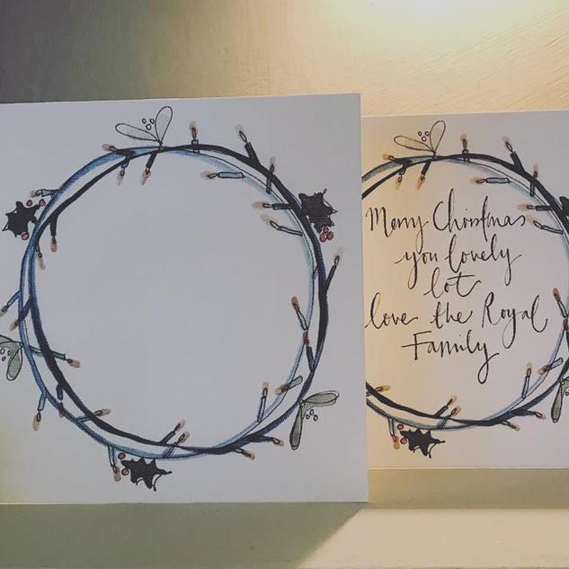 Fairy light wreath card