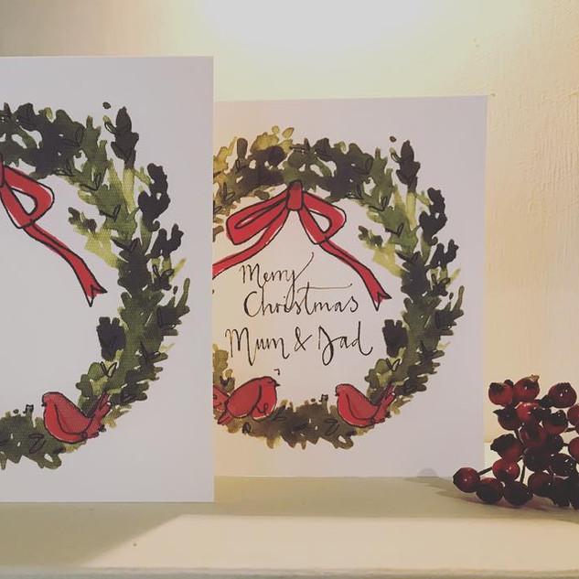 Robin wreath card