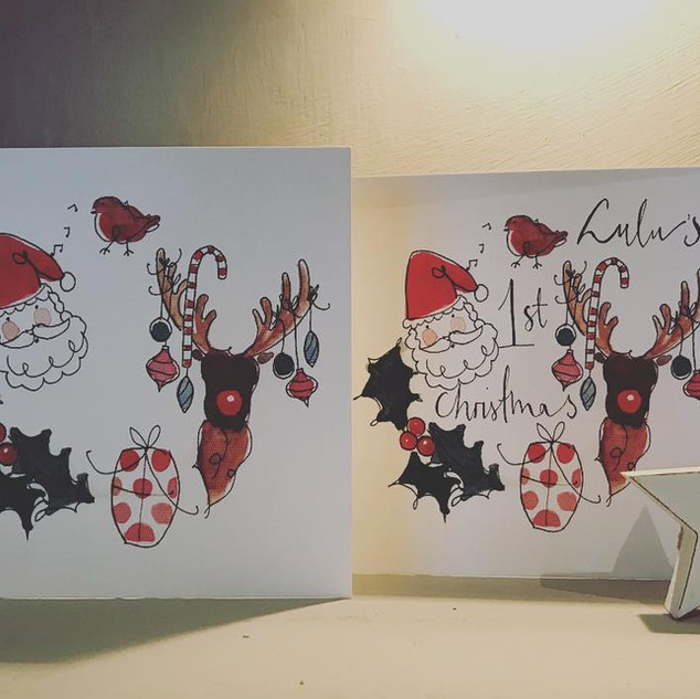 Santa wreath card