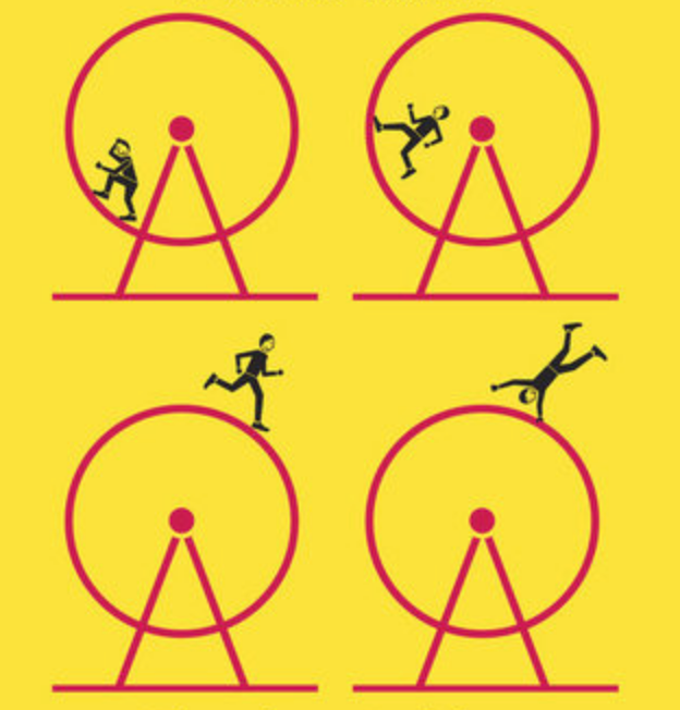 illustration of people running on a hamster wheel with a poppy yellow background from the book cover.