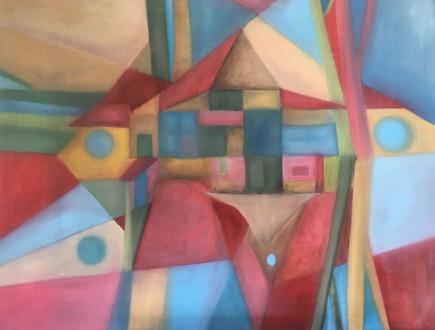 Kubisme, zaandhuuske 70x90 olieverf