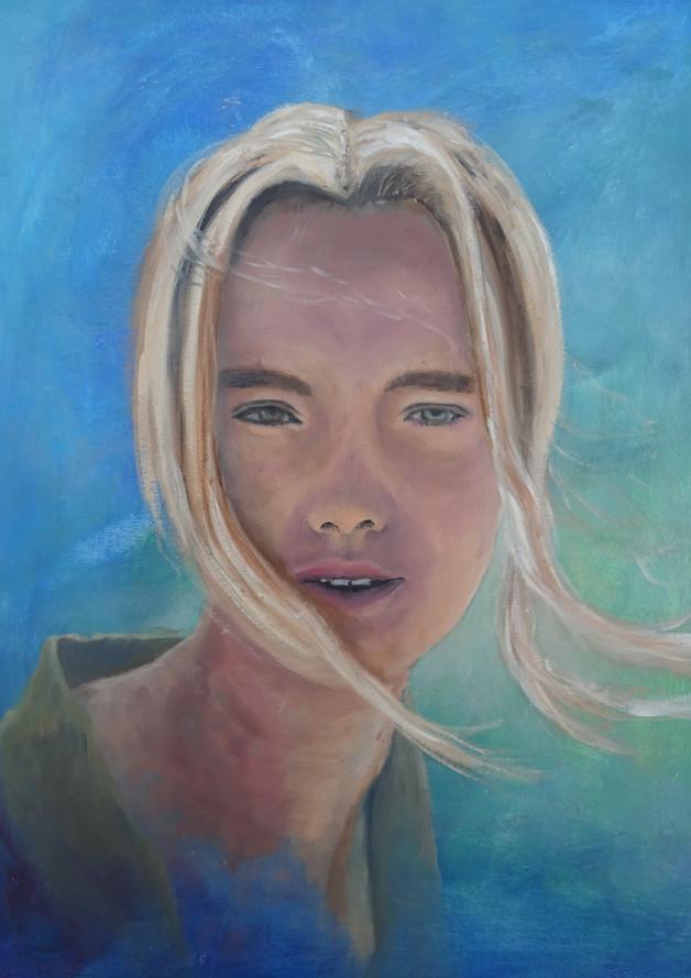 Portret In de wind, olieverf