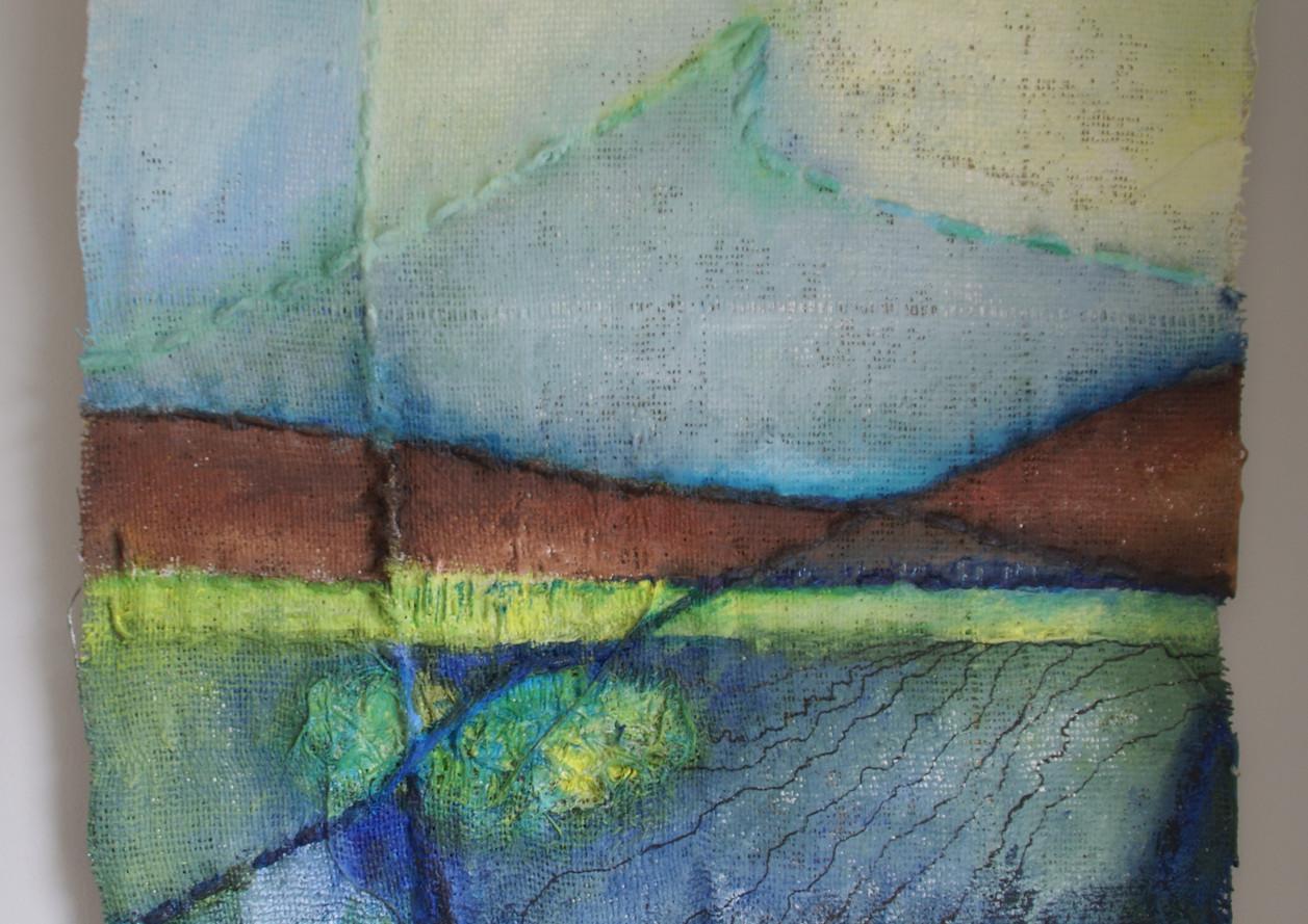 Landschap op jute, 50x50, acryl, jute, draad