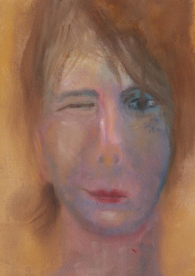 Portret, 25x25 olieverf