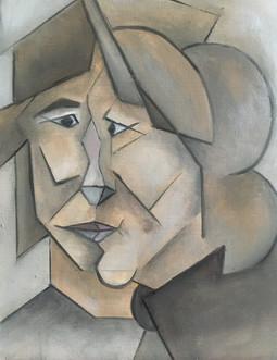 Kubisme inspiratie Pablo Picasso, 32x25 olieverf