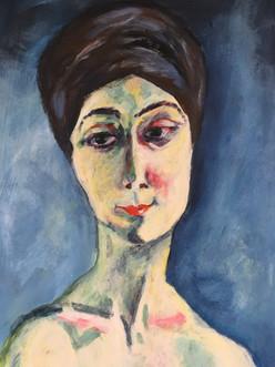 Expressionisme inspiratie Kees van Dongen, 70x50 acryl