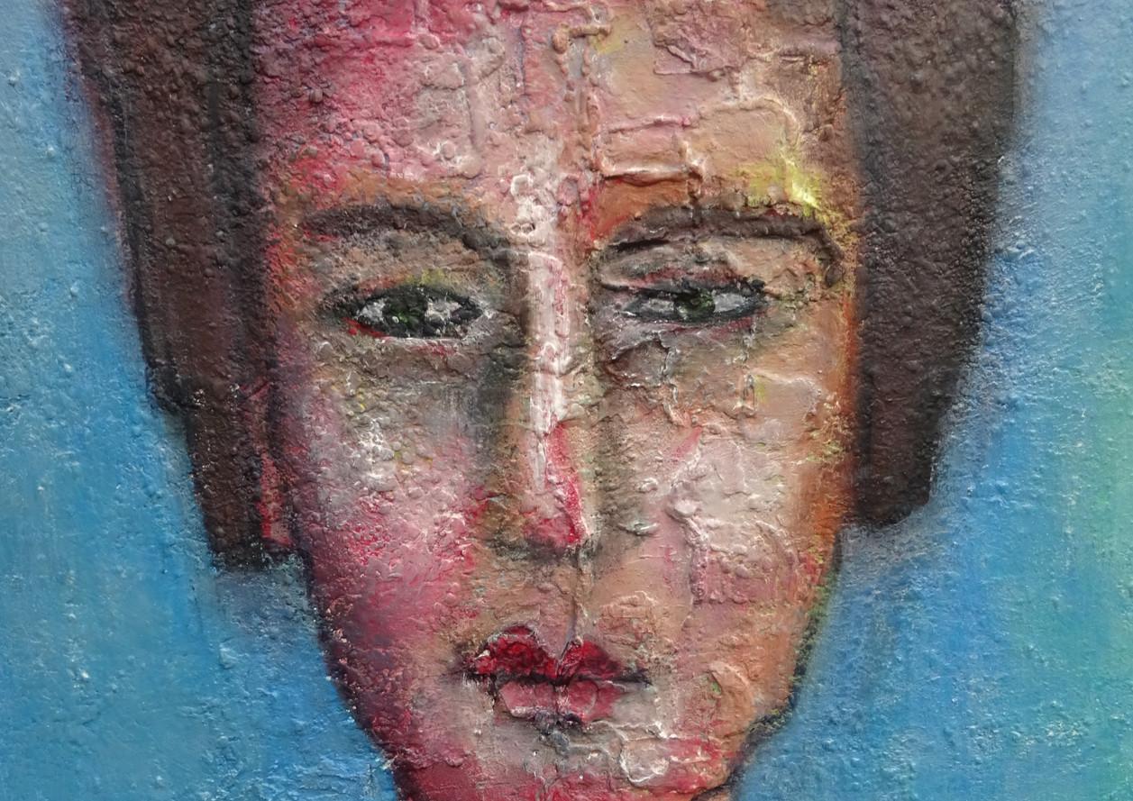 Portret, 100x70, acryl en mixed media