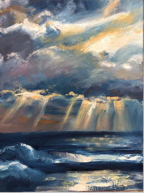 hope on the horizon (30cm x 40cm) -- Medium: Oil on board
