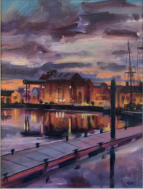 The quay at dusk (30cm x 40cm) -- Medium: Oil on board