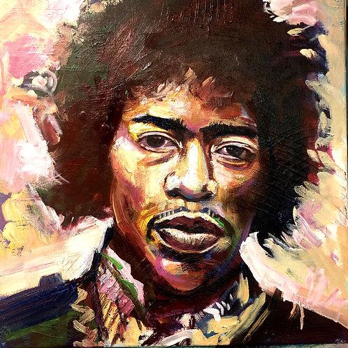 Jimi Hendrix (50cm x 50cm) -- Medium: Acrylic on Box Canvas
