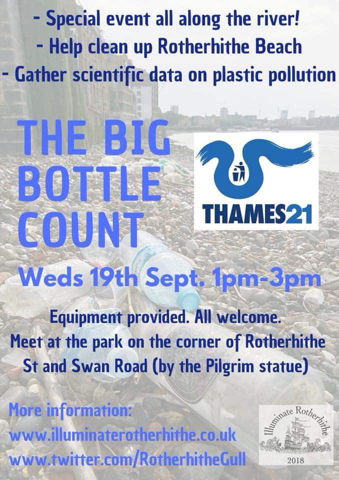 The Big Bottle Count is an annual event by Thames 21 with local groups feeding their information in to a snap shot of bottles in the Thames.