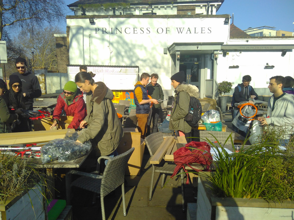 Getting our equipment, outside Princess of Wales pub on River Lea.