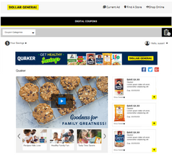 Quaker Brand Page for Dollar General
