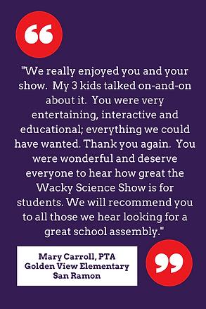 Wacky Science Testimonial - Mary Carroll