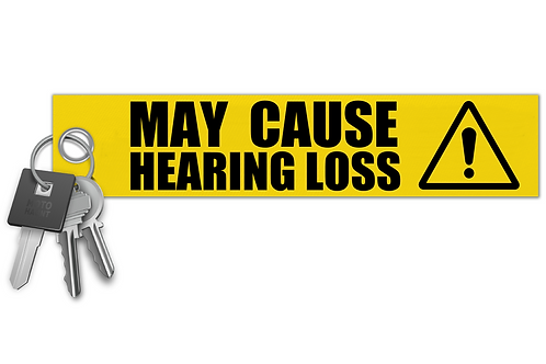 WARNING! May Cause Hearing Loss! Key Tag