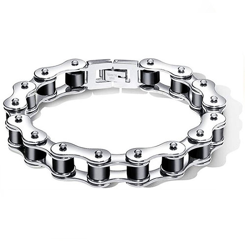 Black & Steel Motorcycle Chain Bracelet
