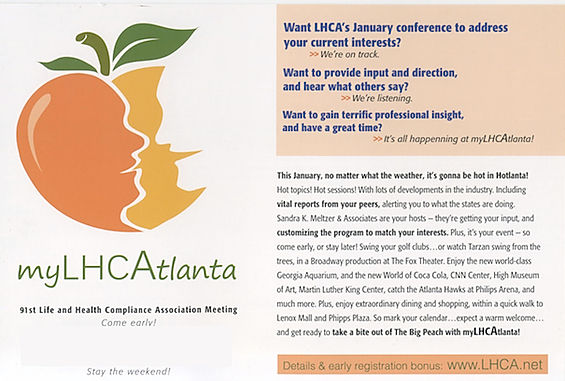 Direct Response Postcards are effective forms o targeted marekting, this for LHCA conference,