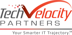 TechVelocity logo and tagline includes our brand development, produced in Atlanta by MarketPower  fo our client in Minneapolis.