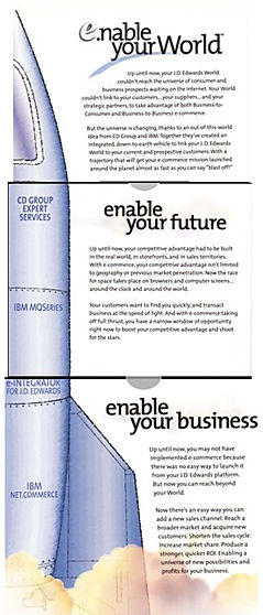 "This 3-D element of this high-impact direct mail program, featured a ""staged"" rocket ship, representing the stages of this ecommerce middleware, dvelopd for IBM."