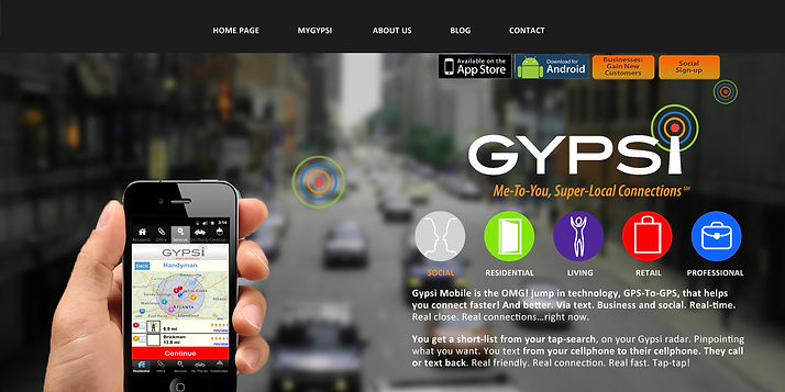 Gypsi is a Location-Based Serrvice (LBS) mobile app we developd, from full brand identity and tagline through marketing and channel distribution strategy, product development and product pricing, private market sales, investor presentions, new business presentations, webiste an dapp development, crativ direction and copywriting....
