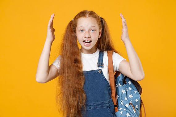 Young shocked redhead school teen girl 1