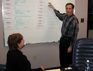 """Atlanta strategic consultant Joel Alpert leads a """"naming session"""" at a technology company, with a team of company executives, wotking on naming a series of new products and services."""