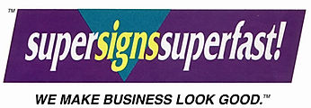 super signs super fast logo and tagline, developed by MarketPower as prt of its brand identity, for a small signmaking franchise started in Atlanta.