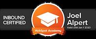 Joel Alpert has gained a Certified Inbound Marketing Professonal designation from Inbound Marketing University, devloped by Hubspot Academy.