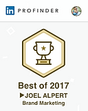 LinkedIn gave Joel a Best of 2017 Brand Marketing award recognition.