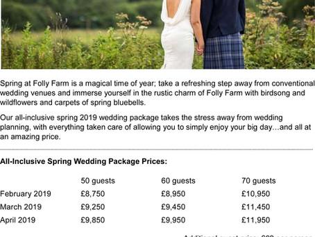 """Folly Farm """"Spring Wedding Package"""" 2019"""