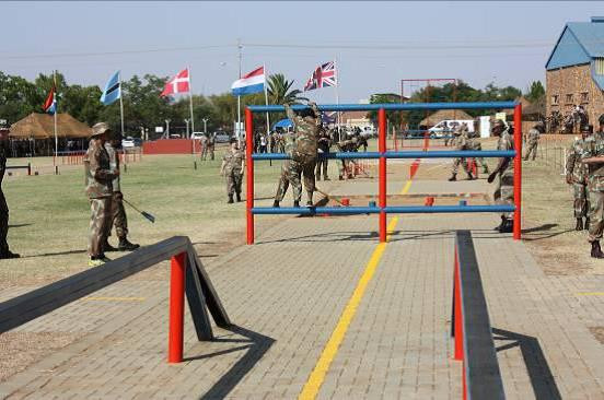 Members in action during preparation of the Land Obstacle, the flagship event of the Military Skills Competition.