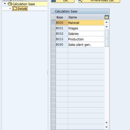 SAP Costing Sheet – Part I – Calculation Base