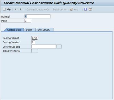 Standard Cost Estimate (Image 1.01)