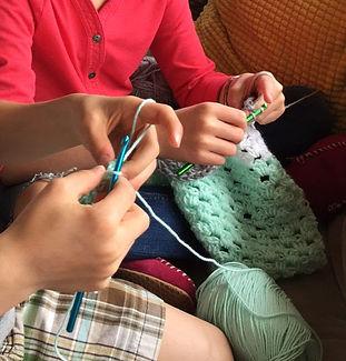 kids crocheting