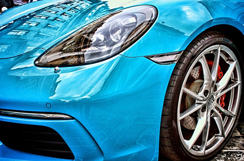 Blue Porsche Sports Car Front