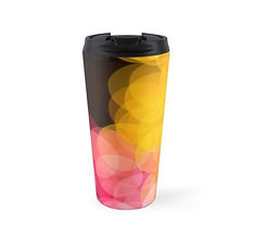 travel mugs bokeh pink yellow design