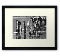 Framed prints black white broken jetty poles